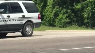 Large Police Chase Ends Abruptly