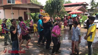 Old Couple Dancing During Songkran Party - Video