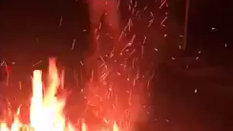 Man tries to jump over bonfire and doesnt make it