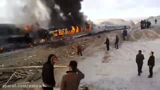 Two trains collide in Semnan - Iran - Video