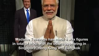 Indian Prime Minister's waxwork is unveiled in London - Video