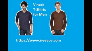 Black Colour V Neck Style Mens T Shirts - Video