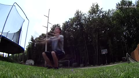 Incredible backflip trick shot gets a lucky bounce