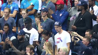 Kevin Durant & Rest Of Team USA Freak Out Over Michael Phelps Win - Video