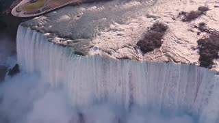 Stunning drone footage of Niagara Falls in the mist