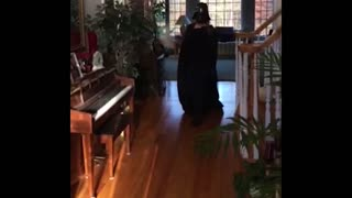 Darth vader girl slips on cape - Video