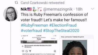 Ruby Freeman - Screengrab of confession to Voter Fraud Crime