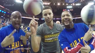 Steph Curry FINALLY Learns to Spin Ball on His Finger from Harlem Globetrotters, Hits Tunnel Shots - Video