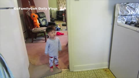 Adorable toddler gets advice from his Dad to be a man