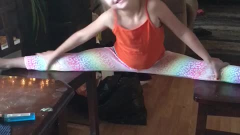 8 year old doing the splits with a red dobberman