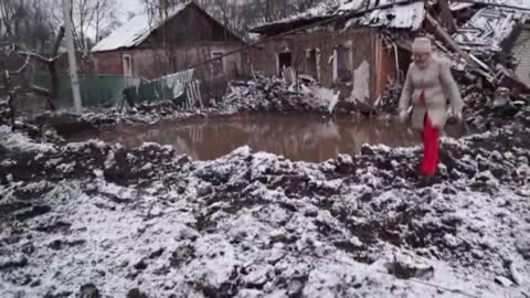 Civilian House Is Destroyed After Russian Artillery Night Shelling Of Horlivka Village In Donetsk Oblast