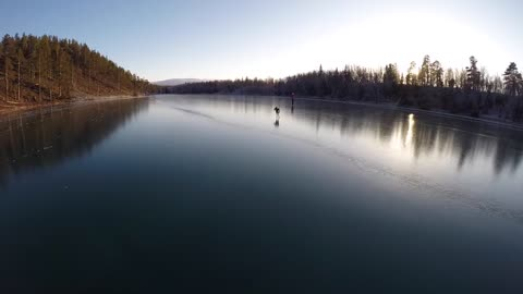 Skating on crystal clear ice