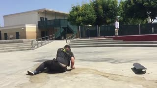 Collab copyright protection - guy attempts skate trick fail - Video