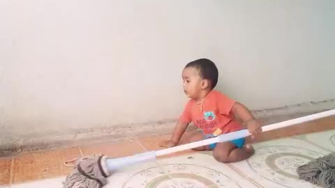 Funny baby cleaning and Playing with Ball in india