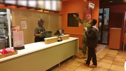 Soldier Feeds Two Hungry Children Dinner At Taco Bell Counter