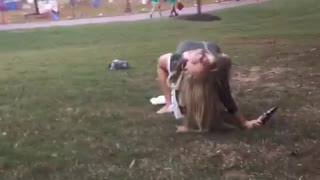 Drunk woman falls off white cooler - Video