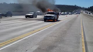 Burning Truck on I-5 - Video
