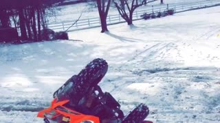 Collab copyright protection - red atv flips over with man - Video