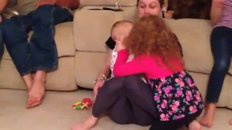 Toddler kisses everyone in the room!! SOOO FUNNY!