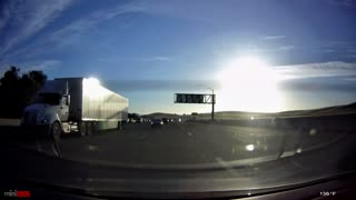 Distracted Driver Meets Highway Divider - Video