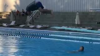 Collab copyright protection - husband diving board flip faceplant - Video