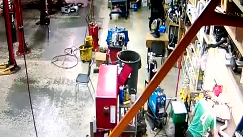 Trash Can Explodes From Welding Sparks