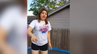 Mom Destroys Trampoline While Performing Tricks - Video