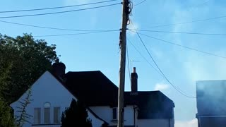 Electric Post Sparks and Catches Fire