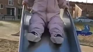Courage Baby Tries Small Twister Alone While Mother Watch His Laugh