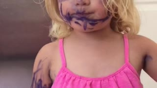Toddler Makes Purple Marker The Next Makeup Trend - Video