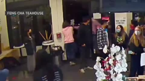 California man sets people on fire at a tea shop