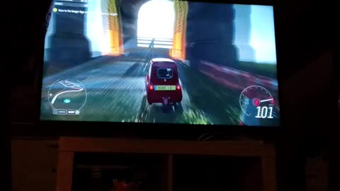 Big jump with a twist in a tiny car