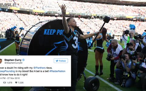 Steph Curry Loses Bet Against The Raiders