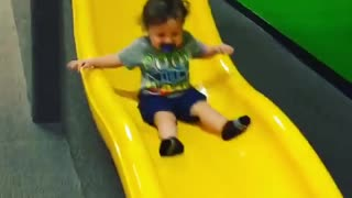 Collab copyright protection - indoor yellow slide baby front flip - Video