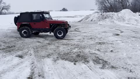 Having fun in the jeep