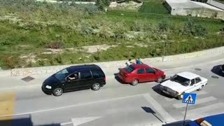 Car Attempts To Tow Van And It Doesn't Go Exactly As Planned