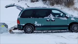 Deep Snow Plowing, With Minivan Homemade Plow (6 files with this ID) - Video