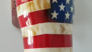 Weathered American flag/Military tumbler