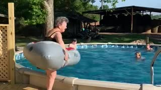 Nana Plunges into the Pool