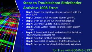 How to fix Bitdefender Antivirus 1008 Error? Call +44-800-046-5292 - Video