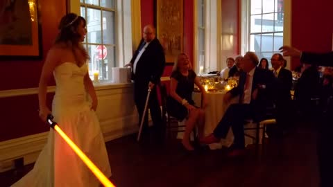 Bride And Groom's First Dance Turns Into Lightsaber Battle