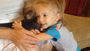 Adorable 2-year-old meets newborn puppy - Video