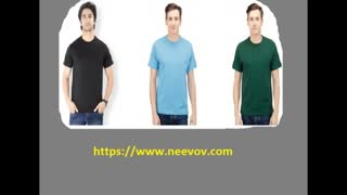 Crew Neck Blue Colour Mens T Shirts - Video