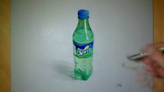 Drawing realistic 3D 'Sprite' bottle - Video