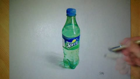 Drawing realistic 3D 'Sprite' bottle