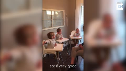Adorable Triplets Get Spanish Lesson