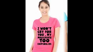 Funny Graphic White Colour Womens T Shirts - Video