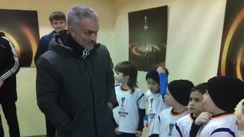 The amazing moment when a young boy met Mourinho last night