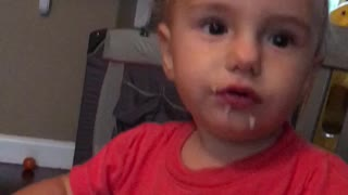 Baby caught eating like a pig  - Video