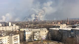 Ammunition Warehouse Explosion in Ukraine - Video
